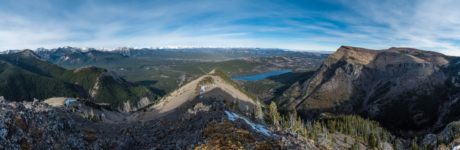Great views from the ridge high point looking north over Beaver Mines Lake with Whistler Lookout at left and Table Mountain at right.