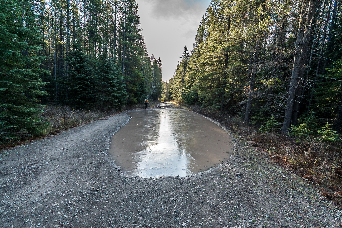There were huge puddles everywhere on the South Castle Road but thankfully they were pretty shallow with a gravel base.