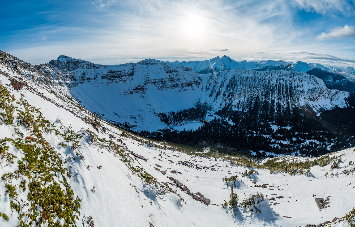 A nice view of the Ruby Lake bowl, lots of snow!