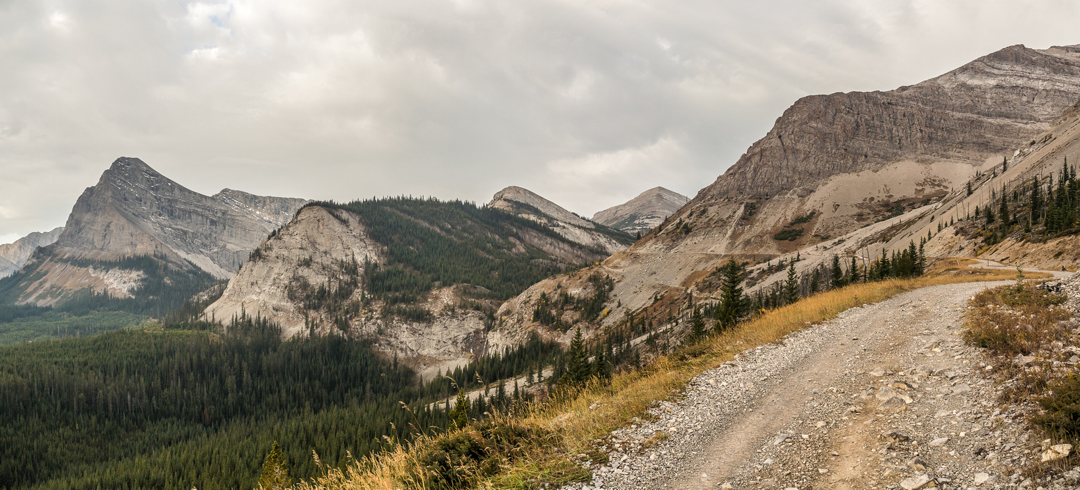 Following the road to the pass as it winds around the south side of Racehorse Peak (out of sight at upper right). Mount Ward at far left.