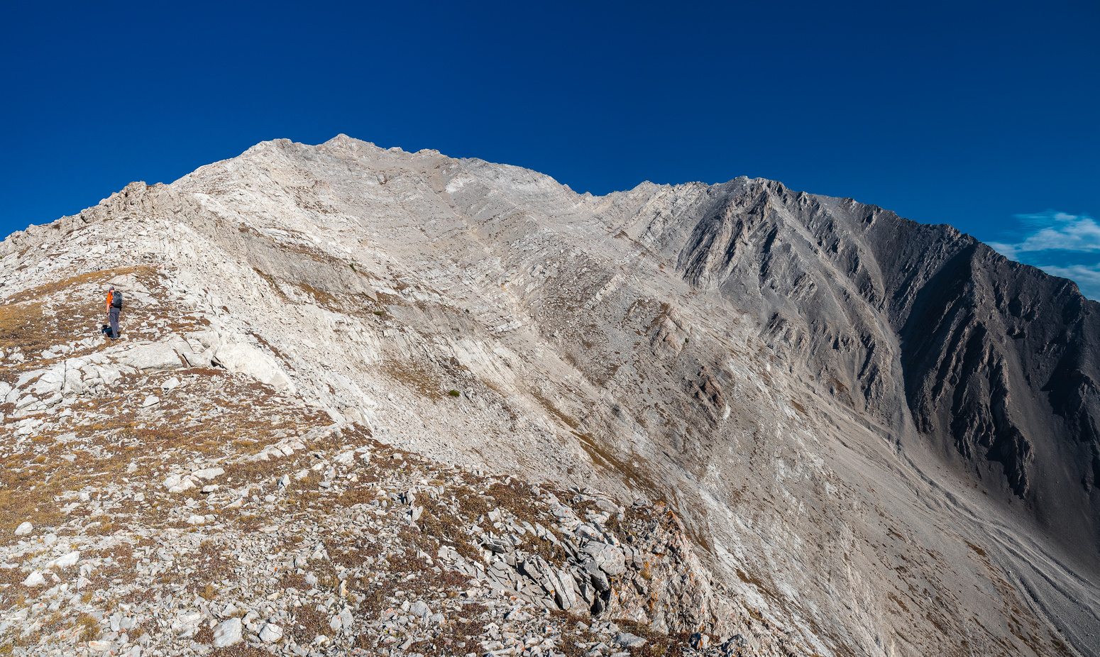Starting back up the south ridge.