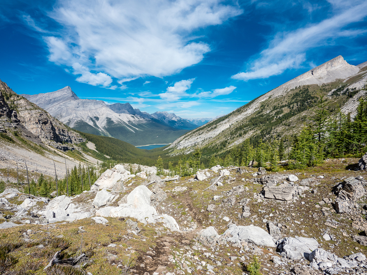 Looking back at our approach from Spray Lakes with Old Goat rising at left and Read's Tower at upper right.
