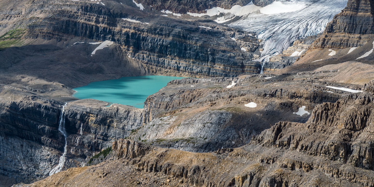 Iceberg Lake at the toe of the Bow Glacier is a major source of water for Bow Lake and Calgary.