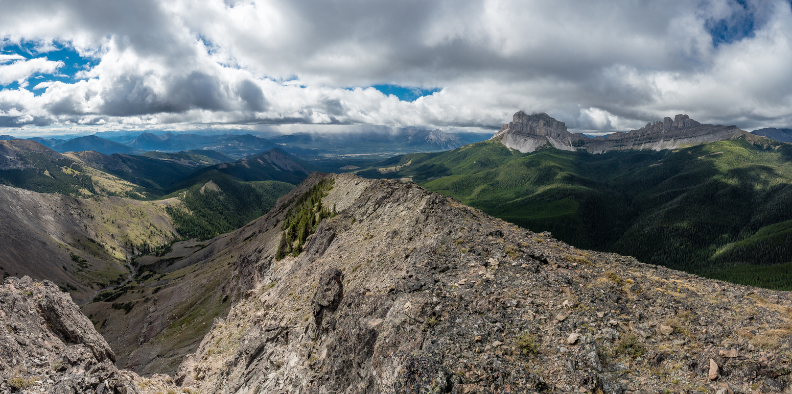 The spine of Ma Butte stretches south towards Crowsnest Pass. Crowsnest Mountain at right.