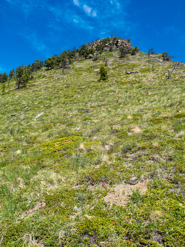 Looking up at a steeper section of the eastern ridge.