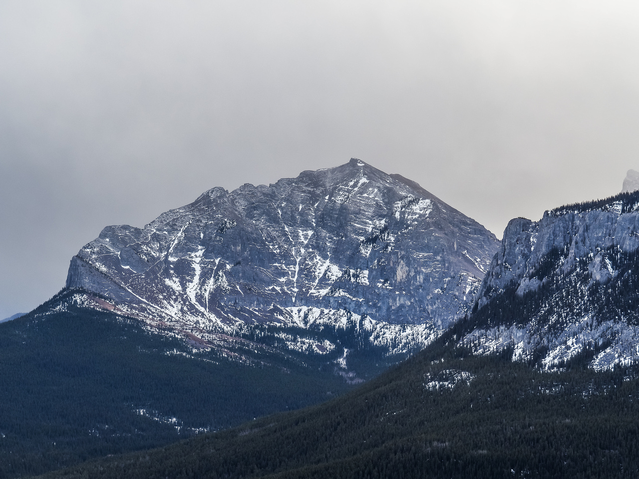 Telephoto of the north side of Yamnuska, note all the scramble trails up to the summit from the left.