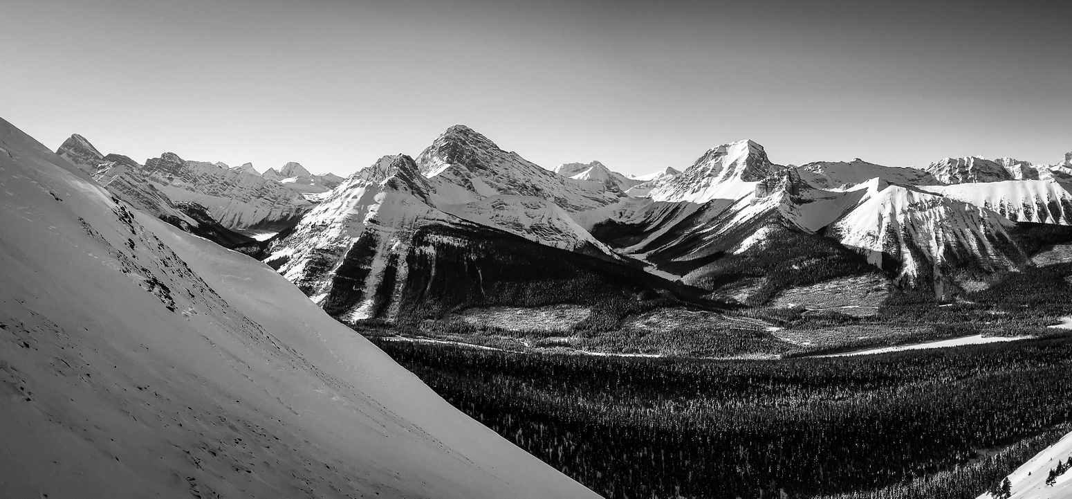 Looking across the Spray Lakes road towards Commonwealth Ridge, Birdwood, Smuts, The Fist and Tent Ridge.