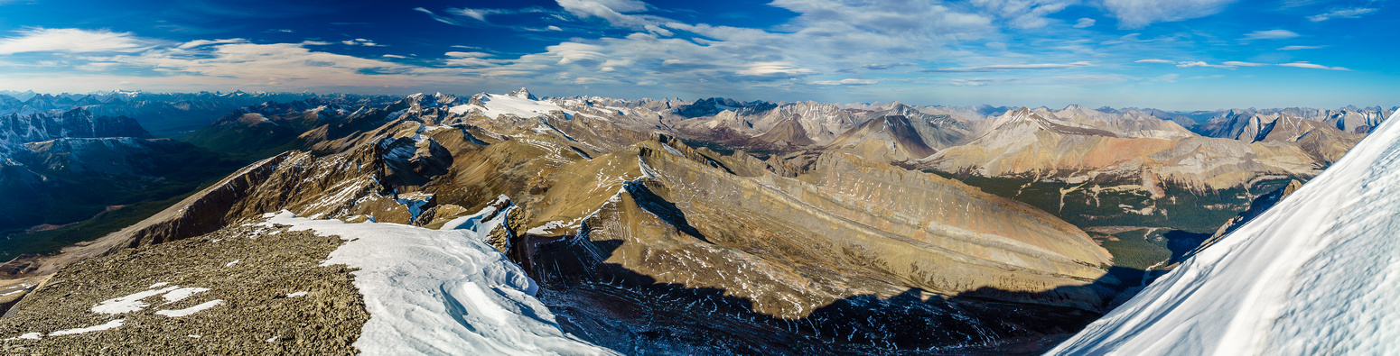 Incredible views to the north include the Brazeau Icefield at left-center and Isaac Peak at right center.