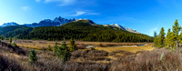 The lovely Poboktan Creek Valley with Waterfall Peaks in the background.