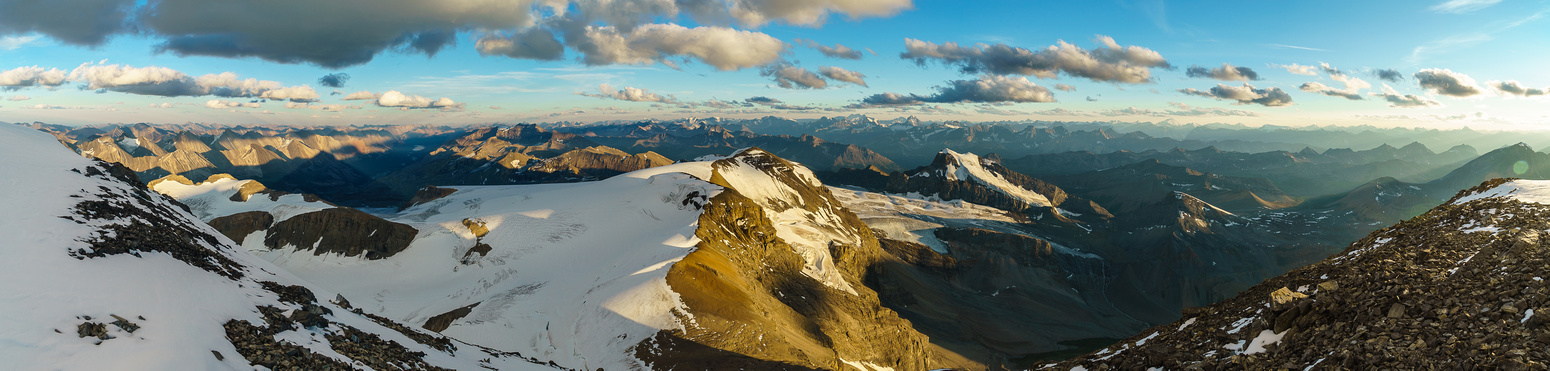 Great sunset views off the summit of Mount Brazeau looking back over Valad and Henry MacLeod.