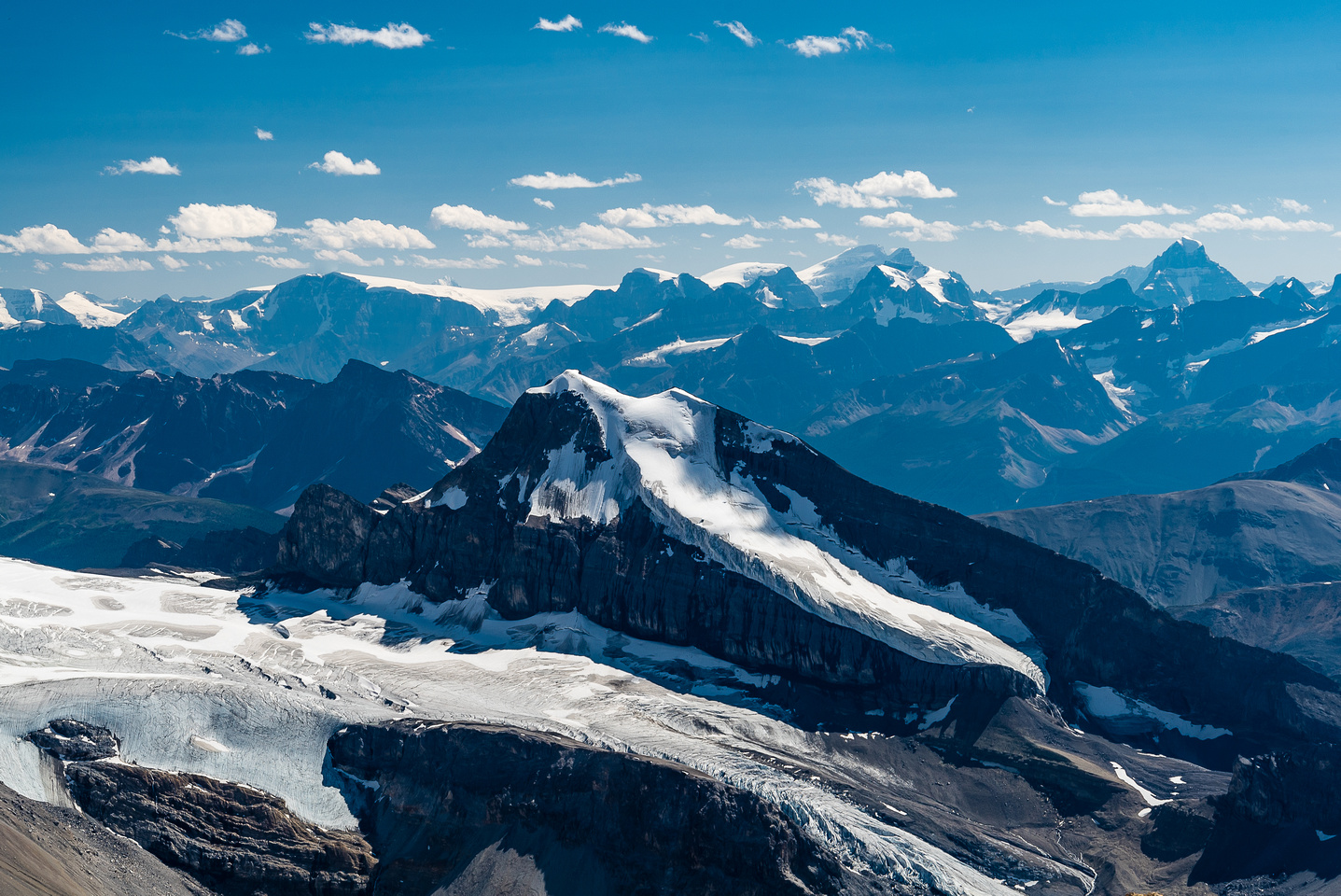 Looking over Coronet Mountain towards the north end of the Columbia Icefield with Kitchener, the Stuts, North Twin, Twins Tower, Alberta.