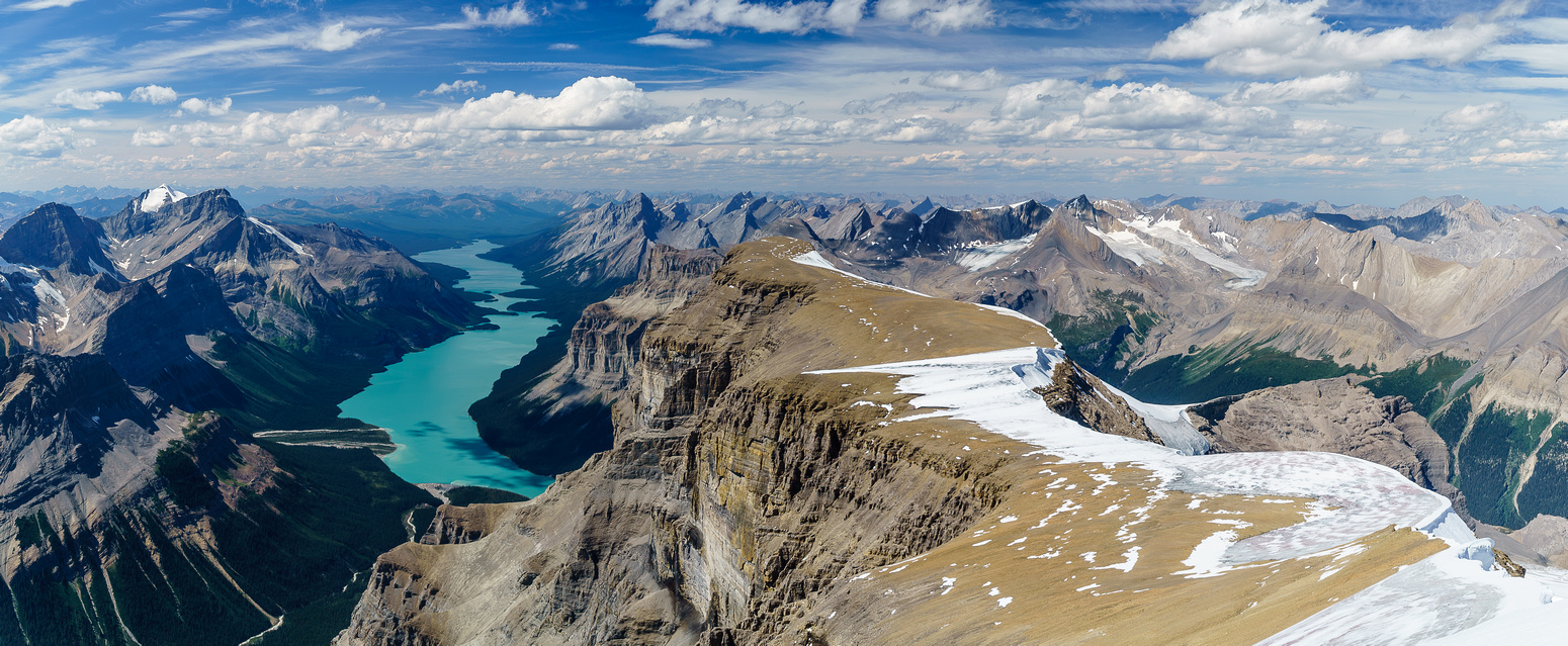 This is what we fought up this peak for! Incredible views of Monkhead Peak and Maligne Lake.