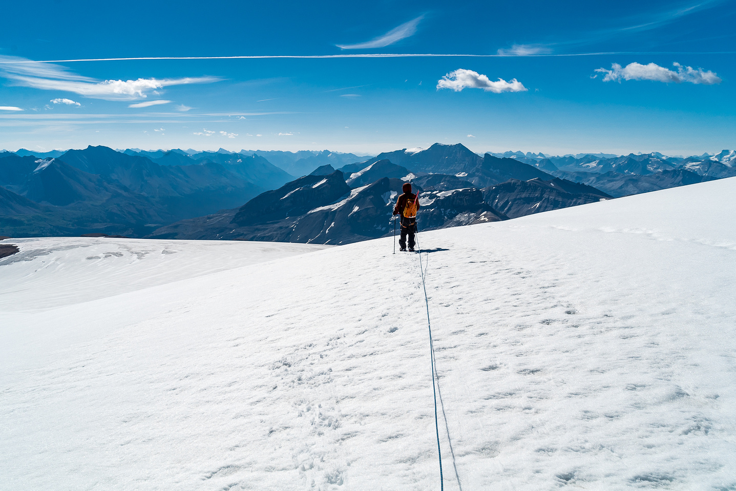 Descending the Brazeau Glacier.