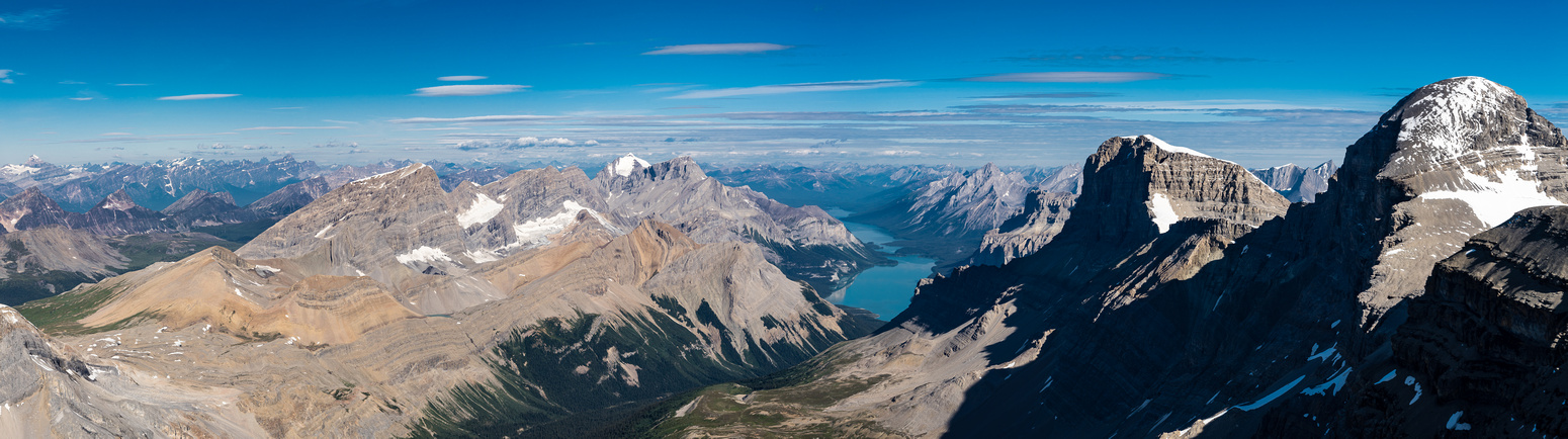 Great views north and west include Mary Vaux, Unwin, Charlton, Maligne Lake, Warren and Brazeau.
