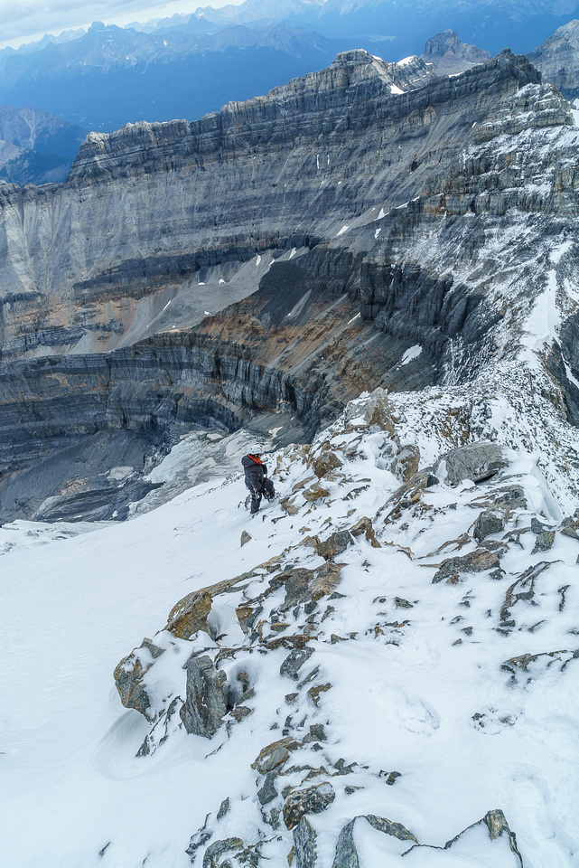 It's still a ways to go after the crux - but easy. Where the heck did all this snow come from?!