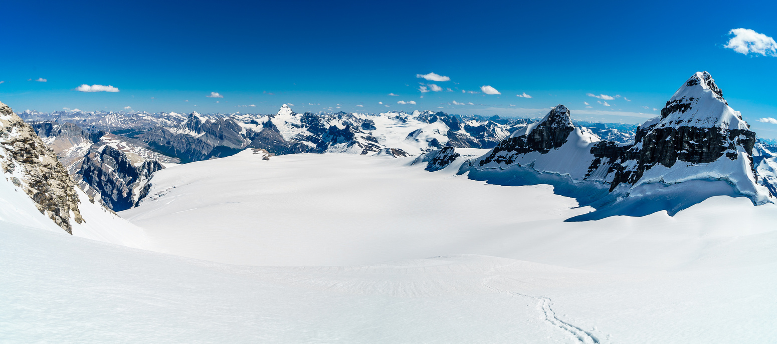 Spectacular views back down the Lyell Glacier from the Ernest / Edward col with Christian and Walter on the right.