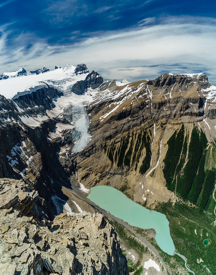 A zoomed out view of the Lyell Icefall to Arctomys Lake and the headwaters of Arctomys Creek and the Valley of Lakes.