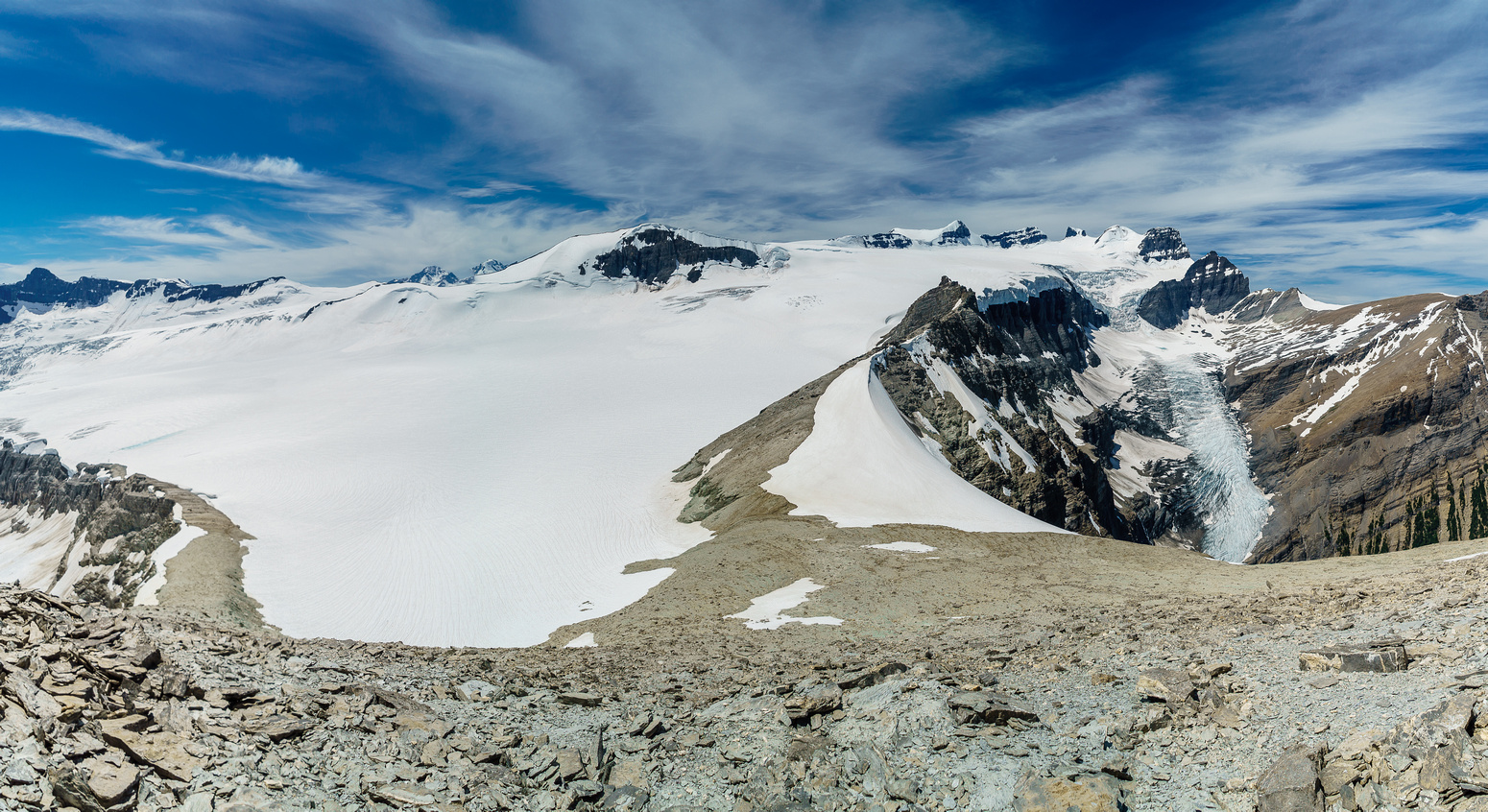 Looking down the west ridge and south shoulder (L) of Arctomys back at the Lyells and their icefield.
