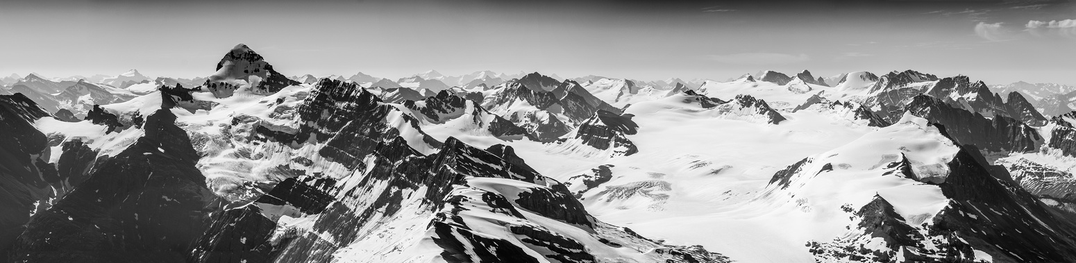 A stunning B&W panorama spanning the entire Forbes and Mons Glaciers from left to right and numerous peaks in between.