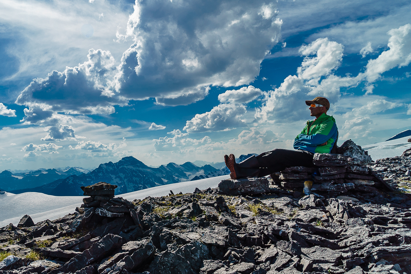 Vern enjoying the rock chair above the Lyell Hut and some mighty fine views.