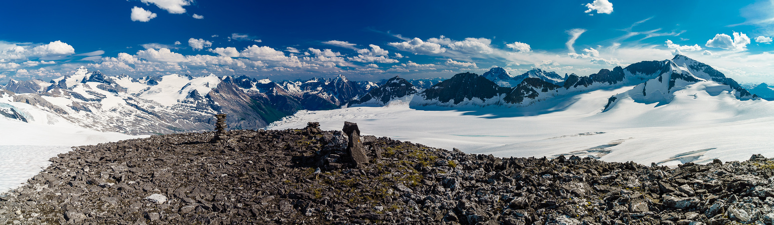 Looking down the Icefall Brook Valley from the rocky ridge near the Lyell Hut.