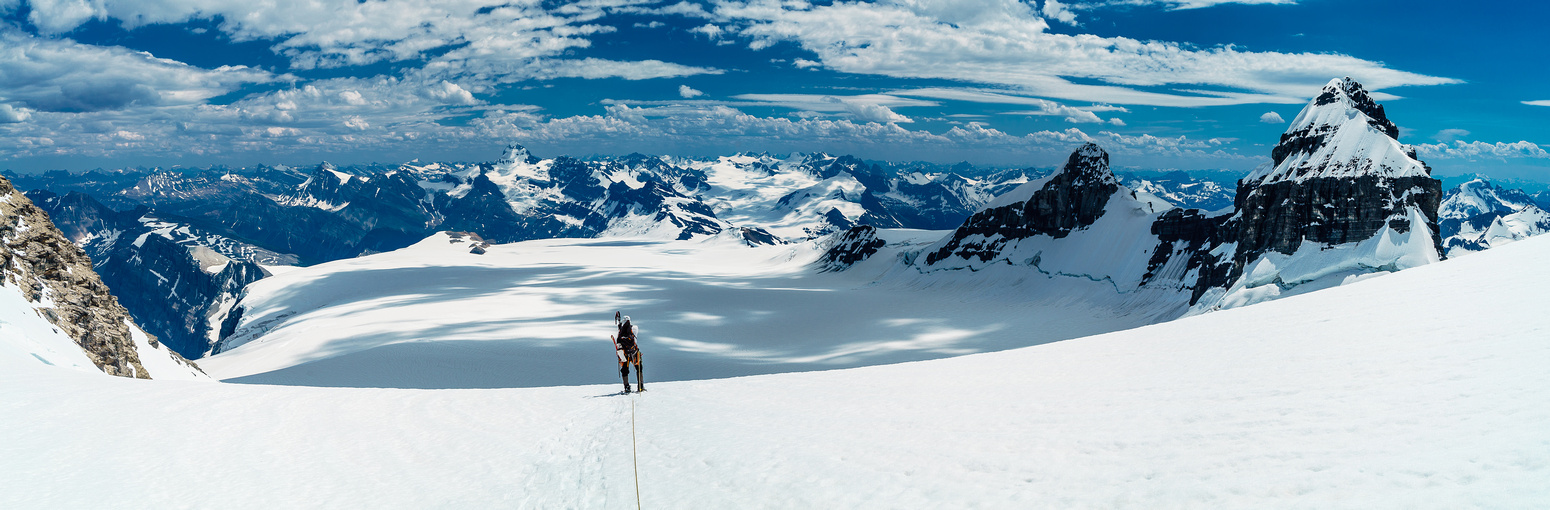 Sublime views down the Lyell Icefield from the Edward / Ernest col.