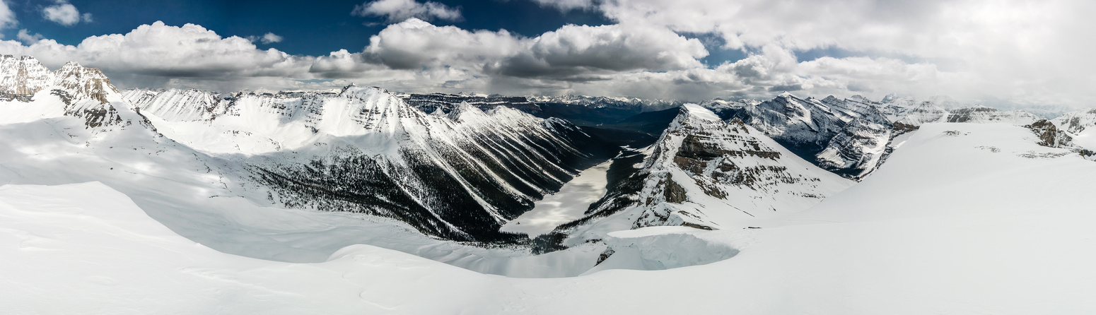 A wonderful pano over Boom Lake includes from L to R, Bident, Bell, Castle, Boom, Storm and Whymper.