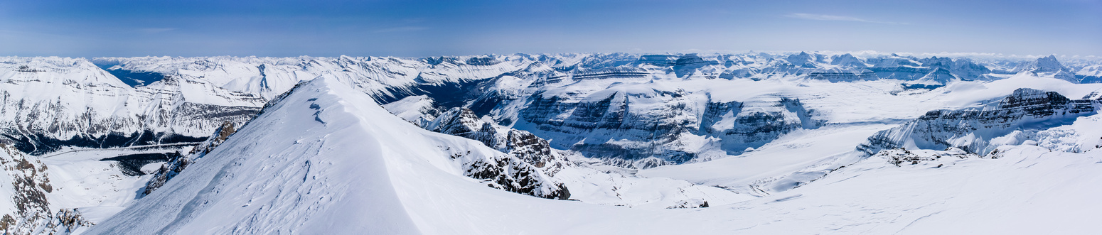 The Cline River Valley and the South Boundary Trail at left with the Saskatchewan Glacier at lower center right.