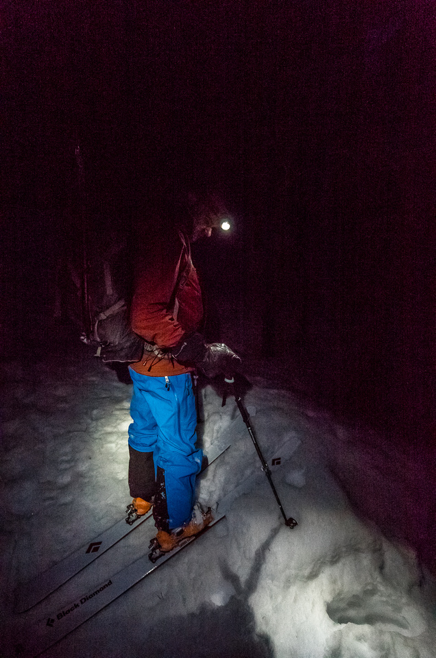 Speed skiing in the dark! Lots of fun - definitely way more fun than walking out would be.