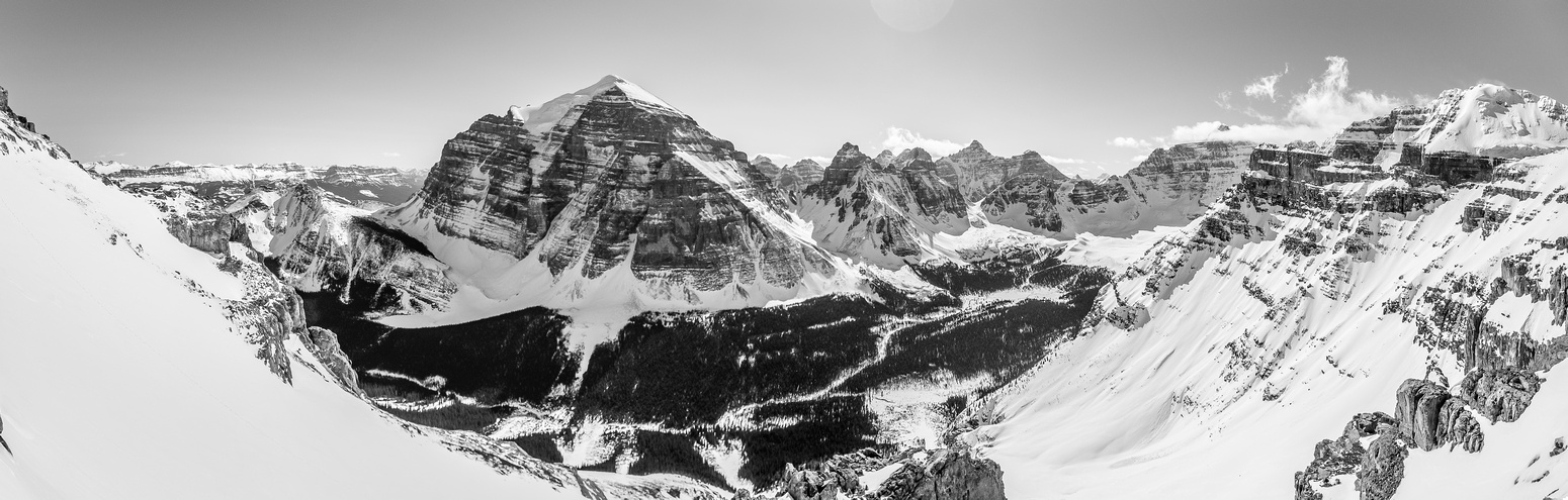 The terrain just keeps getting bigger and the views better. Mount Temple is majestic across Paradise Valley.