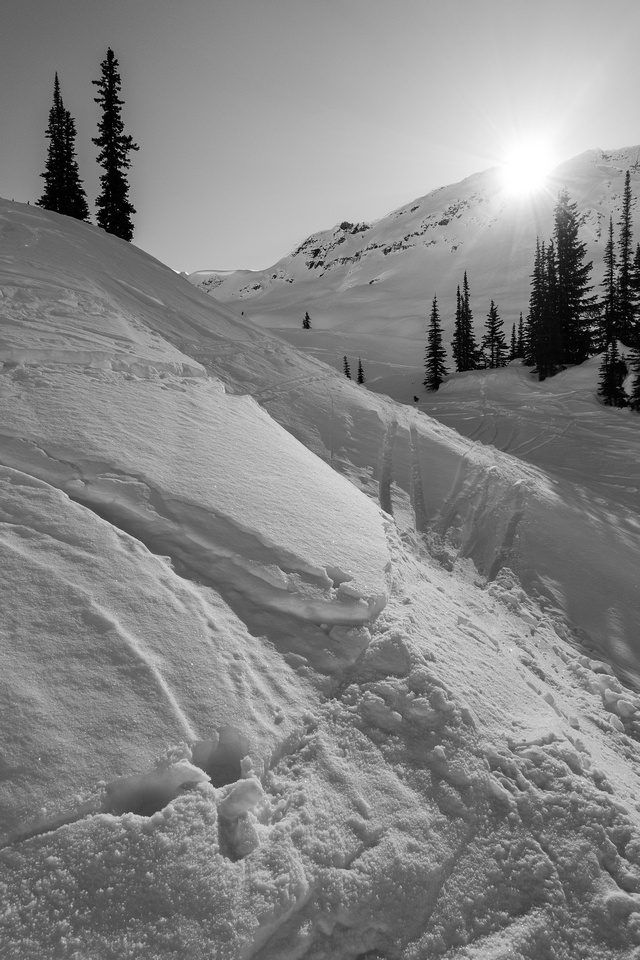 Lots of ski tracks to deal with on descent - this is near the tree triangle.