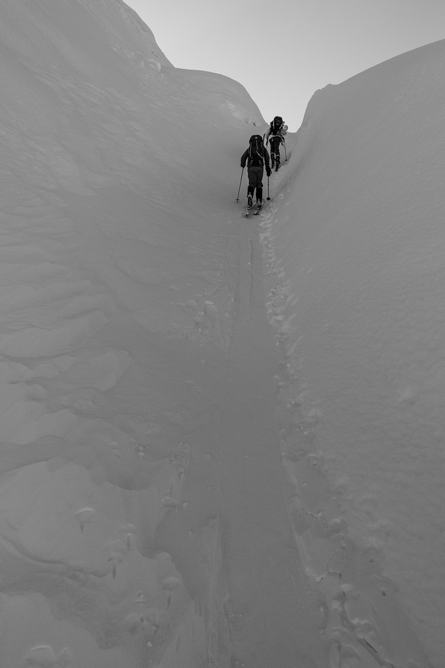 Nearing the glacier terminus - this almost looks like a crevasse.