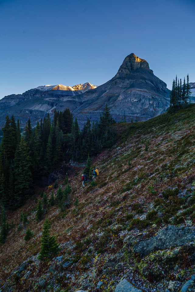 ...and back down the other side! This is a very common theme on the highline route. Rice Brook Peak is now catching morning sunlight.