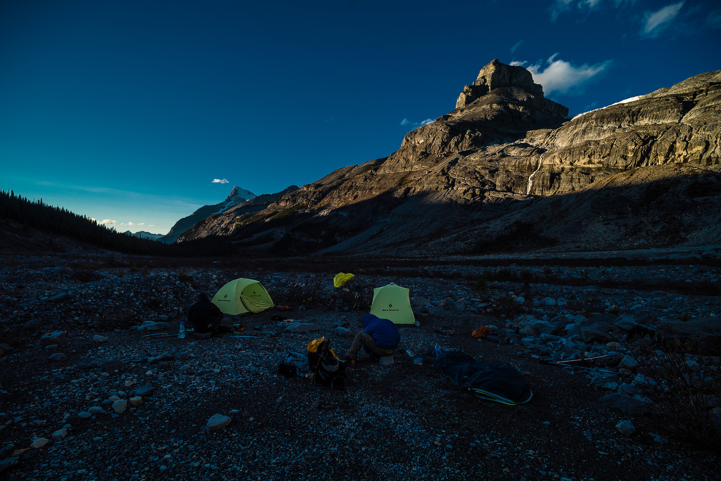 Feels so good to be back at our sublime bivy camp. Bryce looms far in the distance down valley.