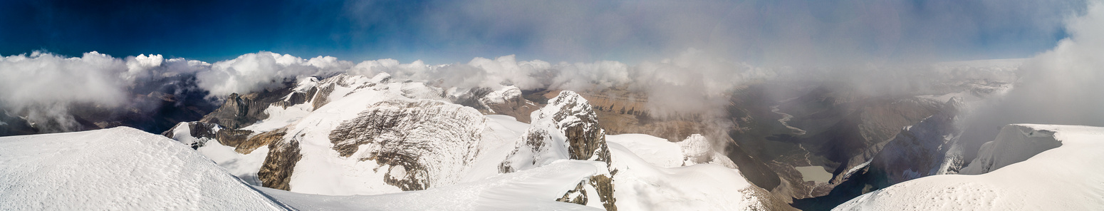 Looking directly over Queen's Peak and Fresnoy (L) towards the cloud covered Columbia Icefields.