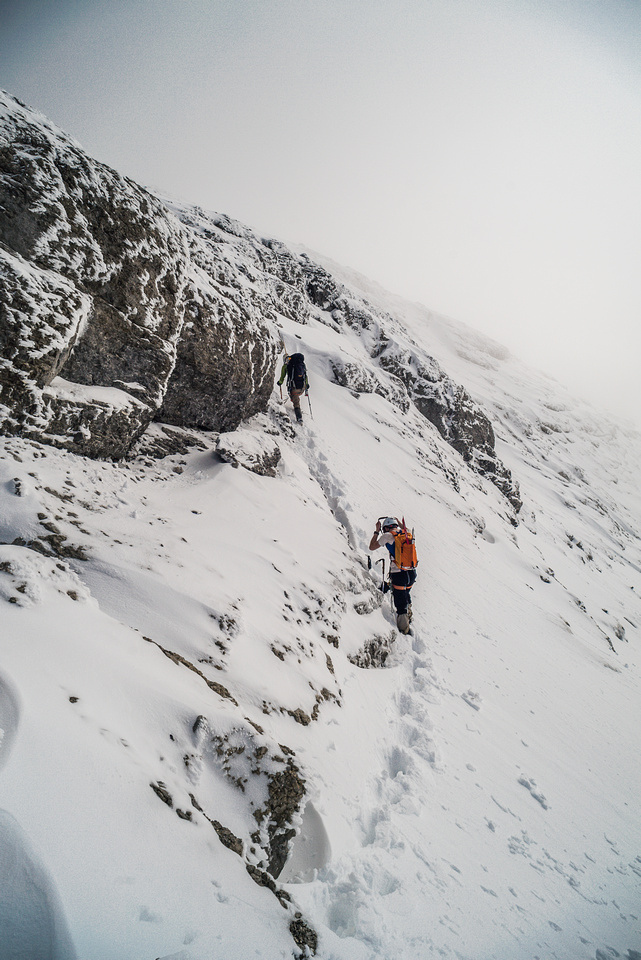 Finding another chimney to ascend along the west ridge.