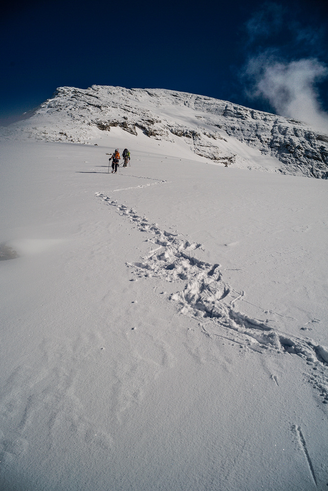 The snow climb route is on the right, we took easier snow-covered rock on the left.