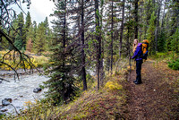Hiking along the Spray River.
