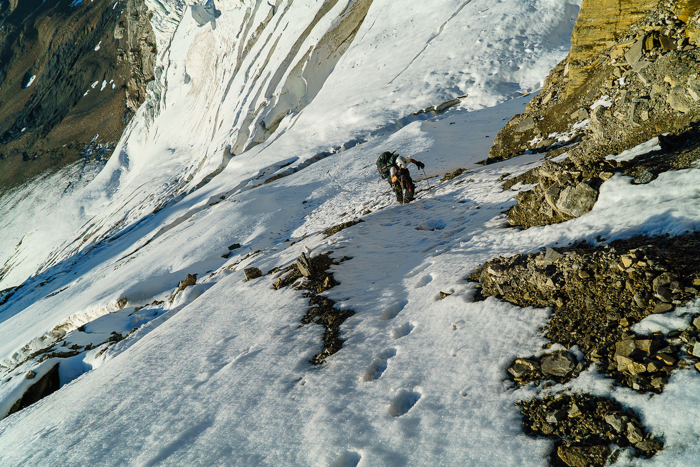 Coming up the first couloir.