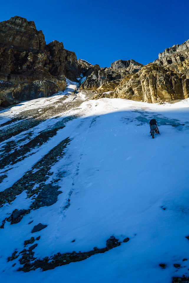 Trying to escape the rockfall in the first couloir as quickly as possible!