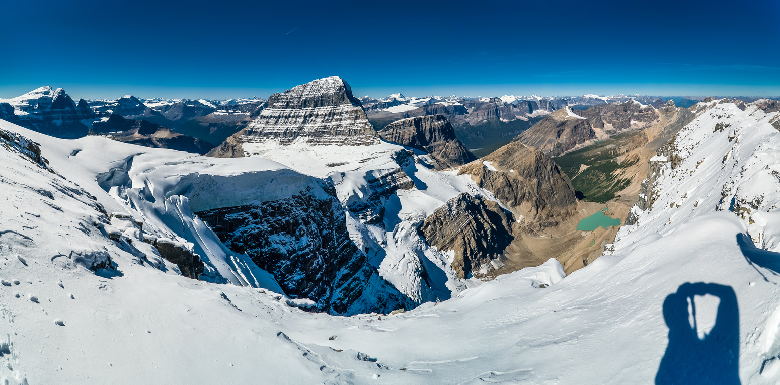 Incredible view of the north face of Mount Alberta with the tarn between Diadem and Alberta.