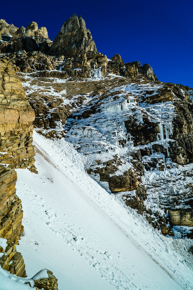 Looking across the couloir as I exit it. Those ice chunks kept falling all day and bombarded the couloir below.