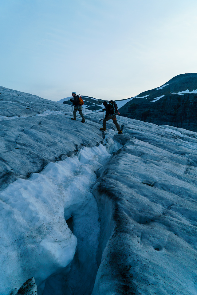 It got more and more difficult to avoid the holes as we worked our way up the main bulge on the glacier.