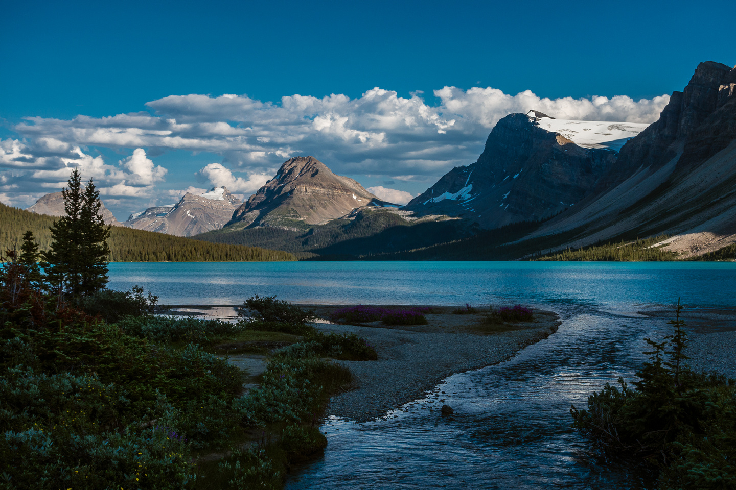 Hiking around Bow Lake as the afternoon shadows grow long.
