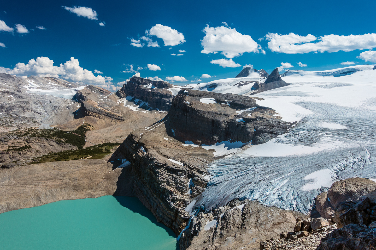 Looking over the Wapta Icefield as it plunges down to Iceberg Lake and eventually Bow Falls and Lake