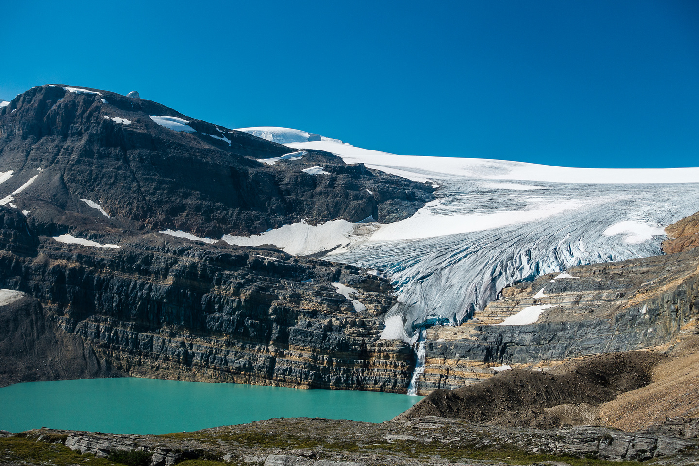 Telephoto of the falls from the Wapta Icefield plunging into Iceberg Lake. This lake was glacier around 50 years ago apparently.
