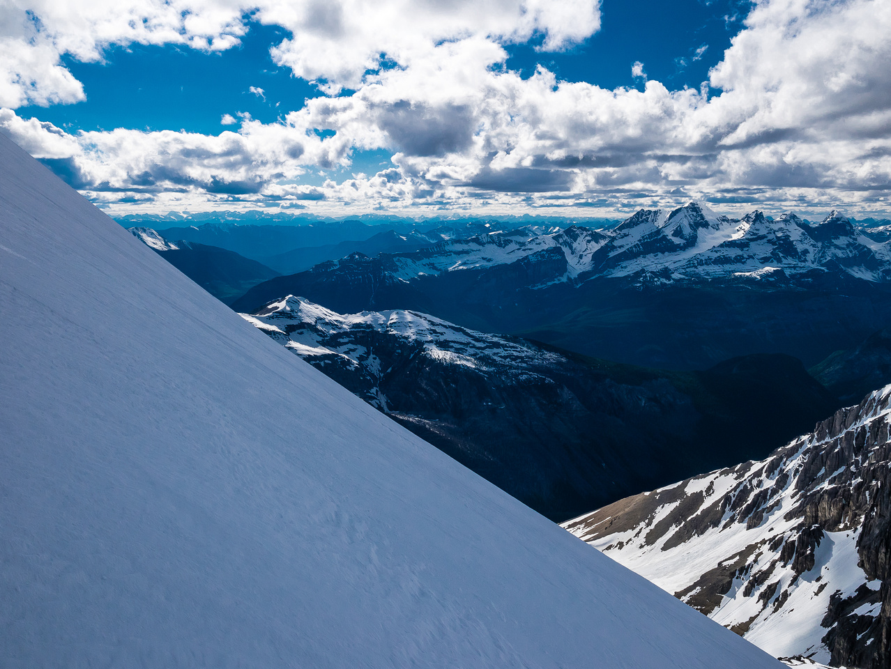 Views into BC over Joffre Creek and the Palliser River towards the Royal Group at right.
