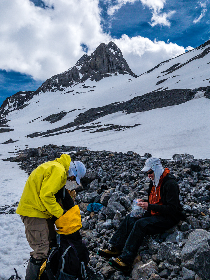 Deciding to set up our bivy here rather than ascend higher with the big packs.
