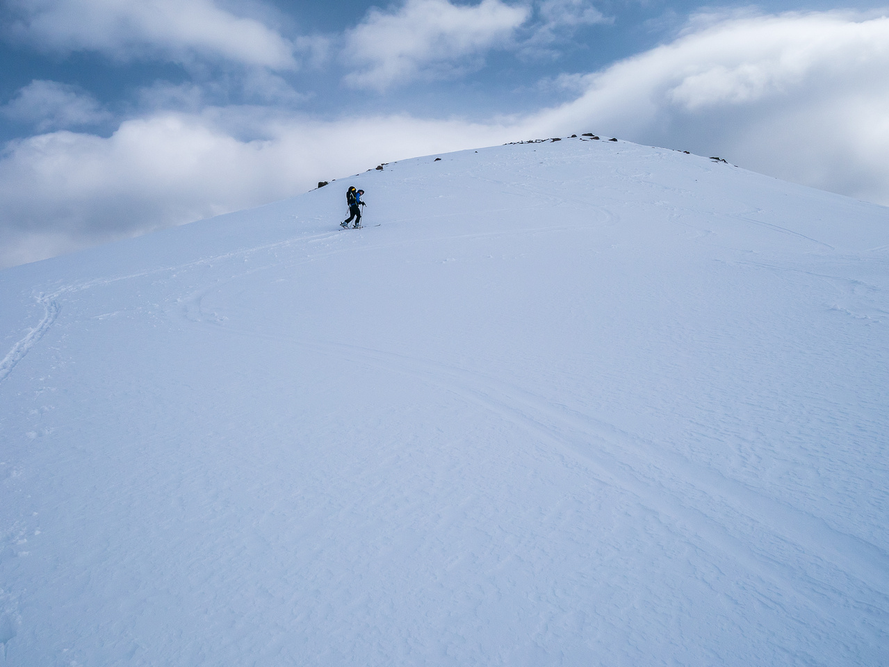We skied as high as feasible - we could have skied higher but were already hitting rocks on the way down.