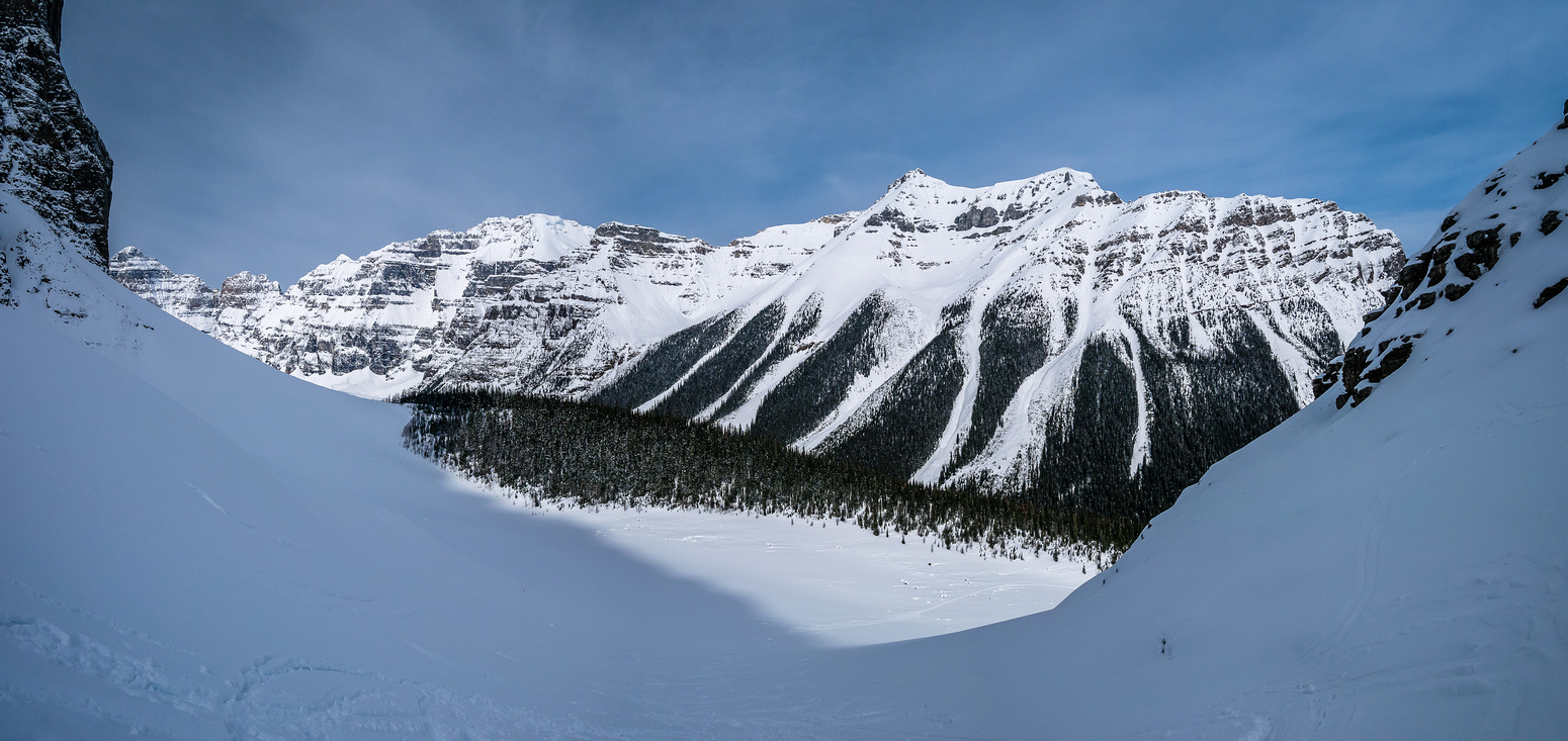 Looking back at our steep ascent from Lake Annette.